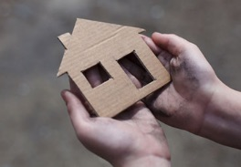 Homeless cardboard emblem