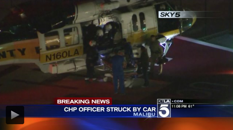 KTLA helicopter CHP officer hit