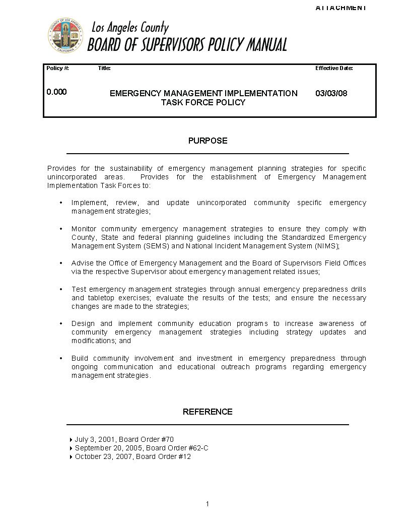 Emergency Mgmt Implementation Task Force Policy - Attachment Page 1